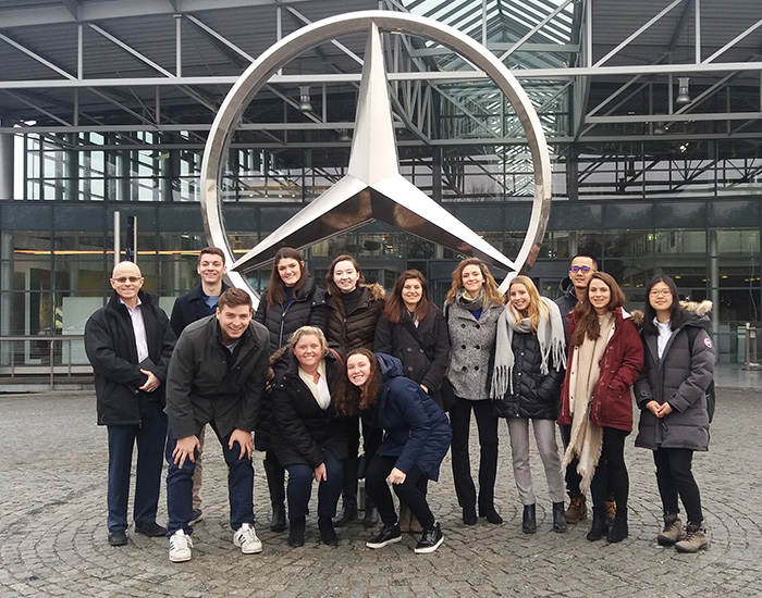 Students taking a class on global human-relations practices visited the largest Mercedes Benz plant in the world during a winter break trip to Germany and Denmark.