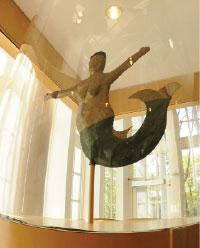 mermaid weathervane on display in Waidner-Spahr Library