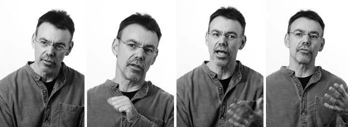 Strip of black-and-white photos of Mike Roberts.