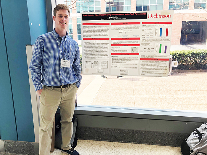 Mike Hinckley '19 (economics, psychology) presents original research during the 2019 Northeast Atlantic Sports Psychology (NASP) Conference at Temple University.