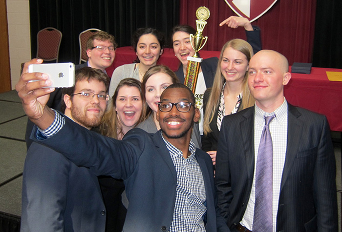 The mock trial team commemorates the moment. Photo by Andrew Chesley '13.