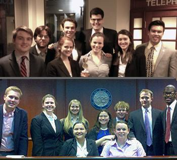 Group shots of Dickinson's two mock trial teams.