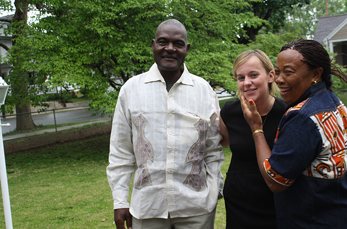 Molly DiLeonardi '15 (center) with her Cameroonian host parents, Daniel and Rose Tchounchui.