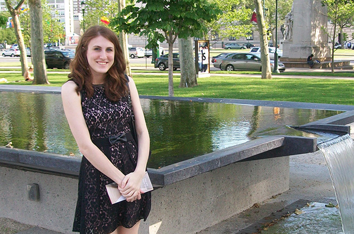 Mary Naydan '15 poses outside of the Barnes Foundation in Philadelphia, Pa.