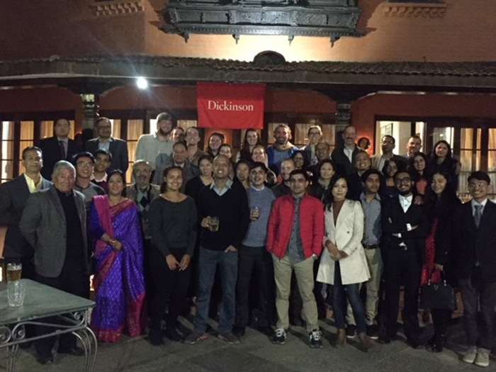 While studying in Kathmandu, Nepal as part of the Mosaics program, students attended dinner with fellow Dickinsonians and even a few prospective students and their families.