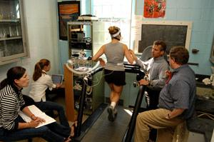 Photograph of a student on a treadmill