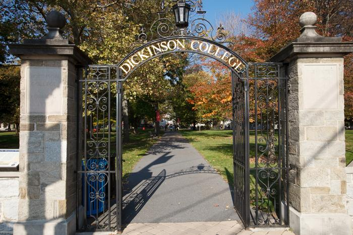 A gate on the Dickinson College campus.