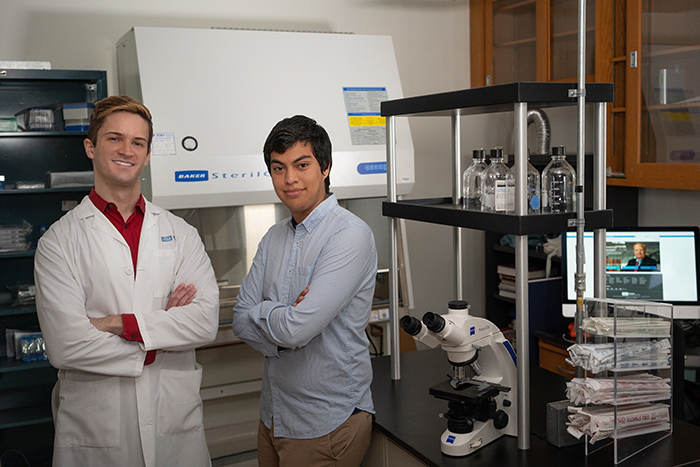 Scott Nowicki '06 (left) is conducting leading-edge cancer research at UCLA. He recently brought Egmidio Medina '18, a former math major, into his team.