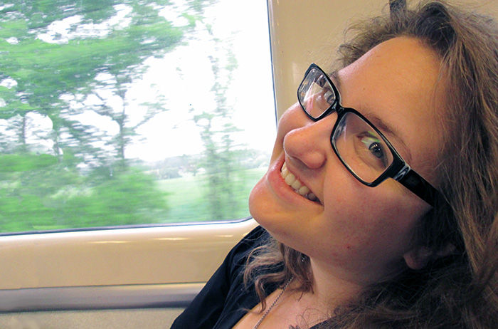 Olivia Wilkins, on the train in East Anglia, England.