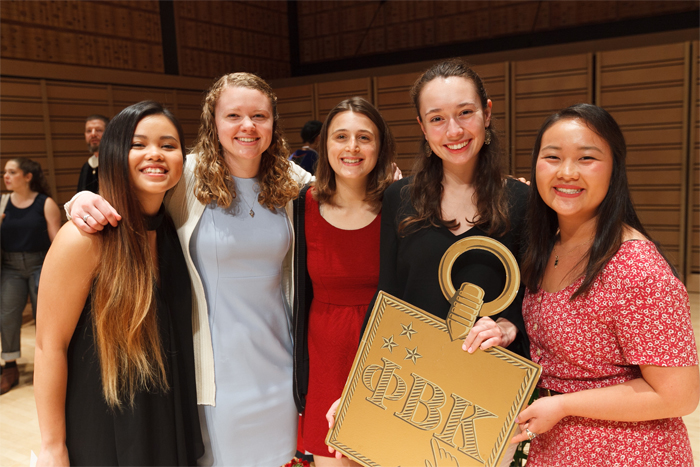 New Phi Beta Kappa inductees pose after a Commencement Weekend ceremony in their honor. Photo by Carl Socolow '77.