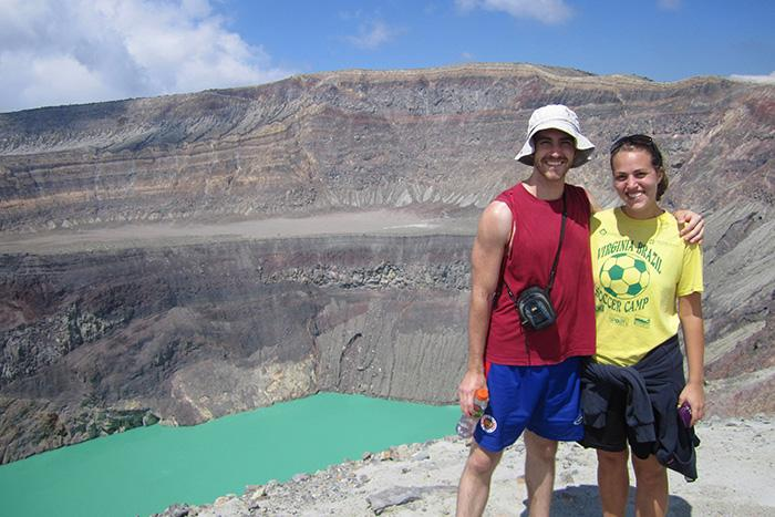 Peace Corp volunteers Brendan Hughes '08 and Lindsey Hazel '09 took some time to visit the Santa Ana volcano in El Salvador. Both chose the Peace Corp because of their interest in international development while working at the grassroots level.