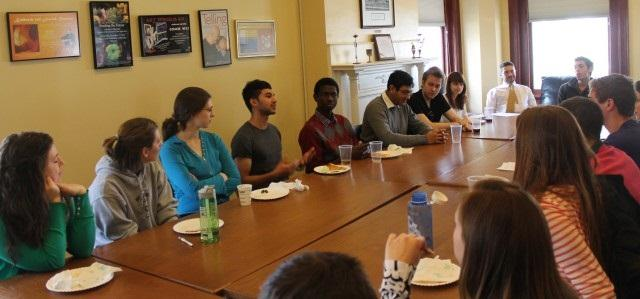 """Leaders of Dickinson's Religious Life student groups gather for a discussion on various interfaith topics and issues."""