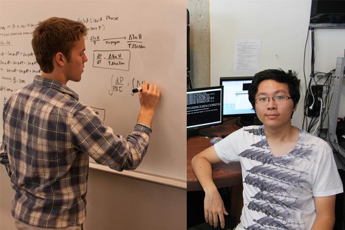 Andrew Tolbert '14 (left) and Danfei Xu '14 head off to New York City in the fall to attend Columbia University as part of Dickinson's 3:2 pre-engineering option.