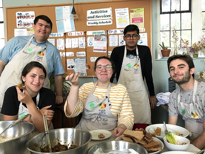 Dickinson students studying abroad in London volunteer at Refettorio Felix, the London branch of the global nonprofit Food for Soul.
