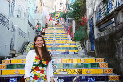 Fulbrighter Melissa Reif '13 poses at the Escadaria Selarón in Rio de Janeiro, Brazil, where she visited while studying abroad during her junior year. Reif will return to Brazil to teach English through the Fulbright English Teaching Assistant program.