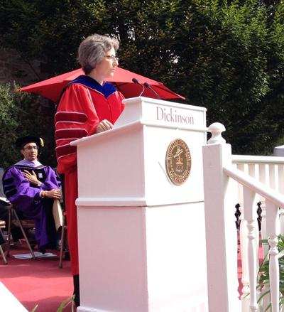 Photograph of Nancy A. Roseman giving her inauguration address