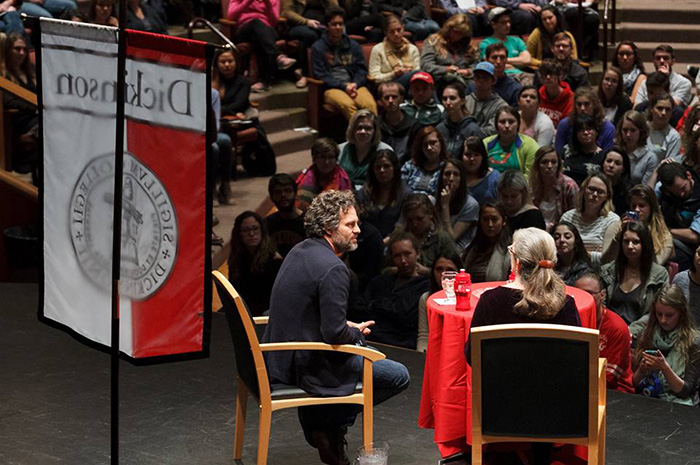 Mark Ruffalo delivers a public address at Dickinson College