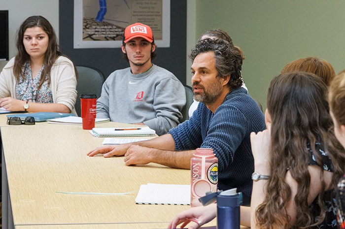Mark Ruffalo visits a classroom at Dickinson College