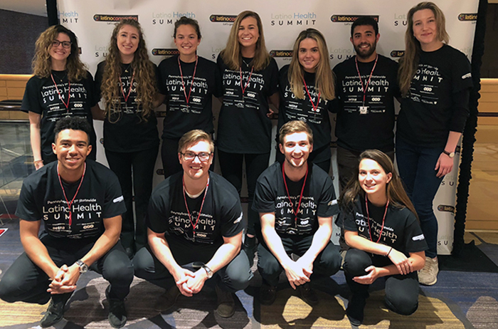 Students from Sherry Ritchey's class in storytelling and communication techniques worked at the April 4 Pennsylvania Latino Health Summit, the first dedicated Pennsylvania-wide gathering of health influencers committed to effecting positive change.