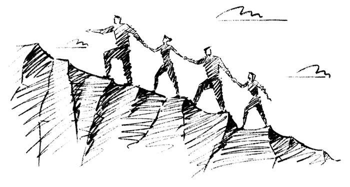 drawing of people climbing