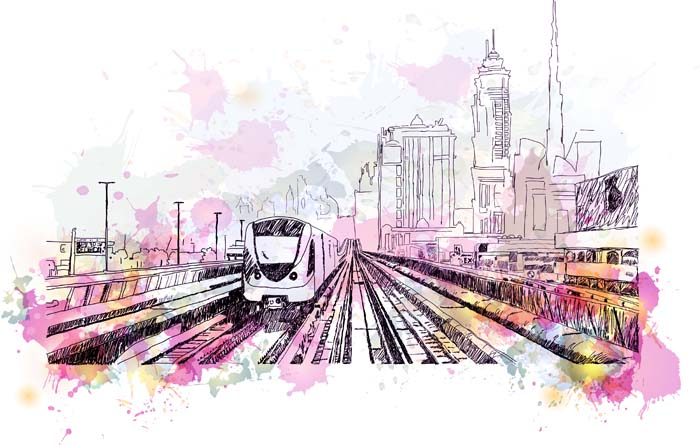 stock art of train station with purple watercolor treatment