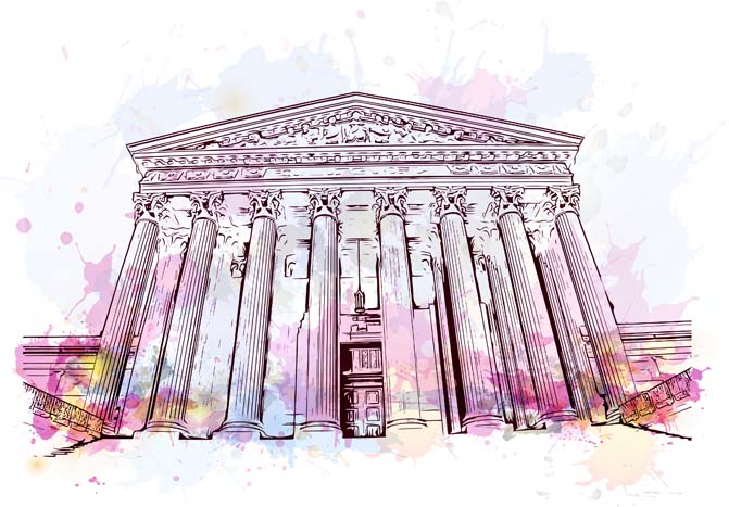 stock art of pillar building with purple watercolor style