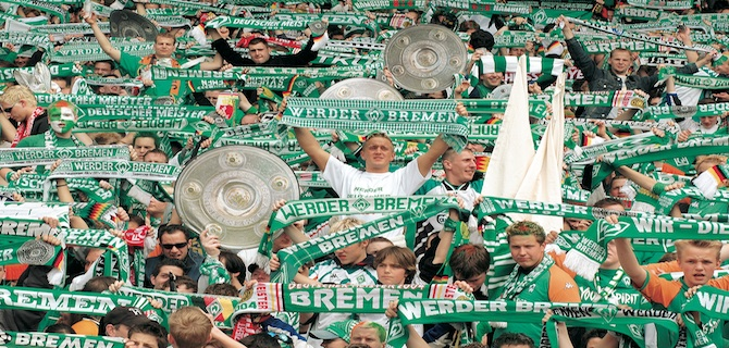 A collage of fans cheering at a Bremen soccer game.