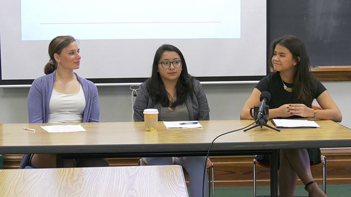 Students taking the class Social Movements, Social Media and Global Change held a mock press conference to announce the rollout of their social-justice campaigns. From left: Mary Smith '20, Kimberly Lopez Castellanos and Andrea Bisbjerg '18.