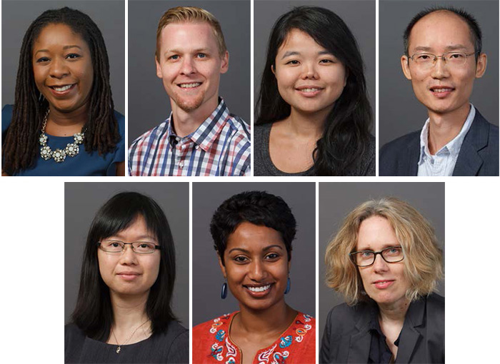 Top row (from left): Naila Smith, Nicholas Soderstrom, Maiko Arashiro and Xiaolu Wang. Bottom row (from left): Qing Bai, Sheela Jane Menon and Lila Ellen Gray.