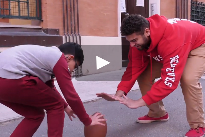 Marcus Witherspoon '20 is making the most of his time in Bologna, Italy. Along with his coursework, he's teaching a local child about American football and English.