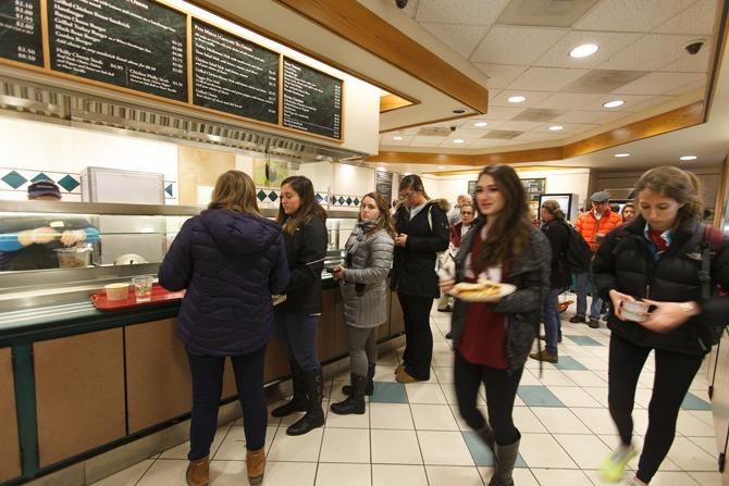 Students getting food at Union Station on the Dickinson College campus.