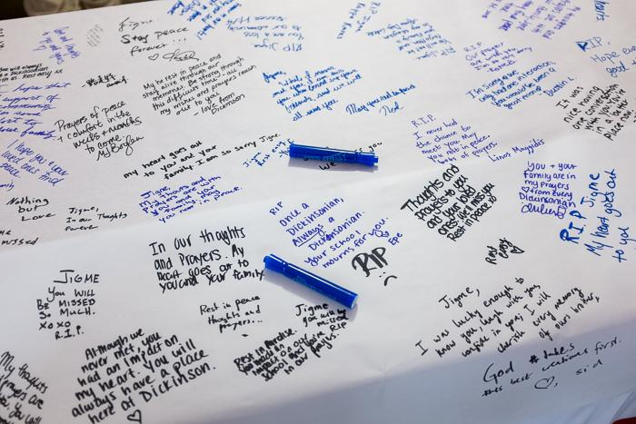 Students, faculty and staff wrote messages of sorrow and sympathy.