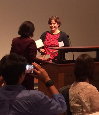 ALLARM Executive Director Julie Vastine accepts the PERC Sustainability Champions Award during an Oct. 9 ceremony.
