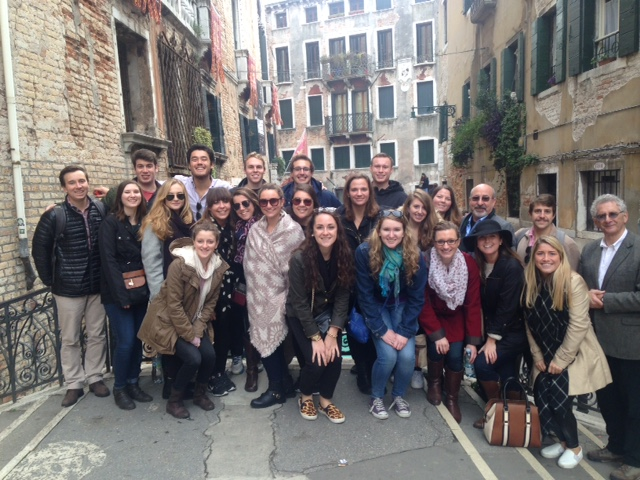 Students drink in Venice through the eyes of curator/educator Eric Denker '75 (back row, third from right). The group was joined by Bologna Program alumnus Tony Bonanno '68 (far right).