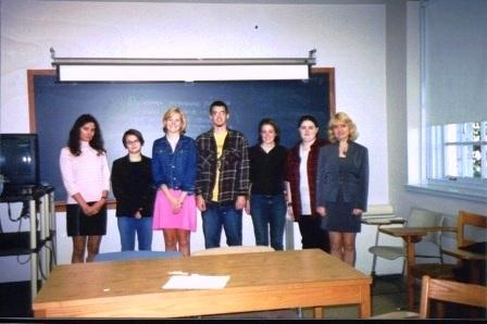 From the left: Vera Pavlova, Emily Kodama '05, Jenny Webb '05, Johnathan Stains '05,