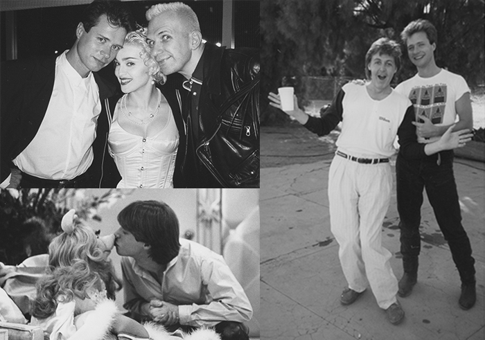 Paterson with (clockwise, from left:) Madonna and Jean Paul Gaultier; Paul McCartney; and Miss Piggy.