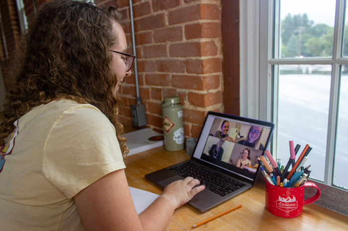 Students connect via Zoom with fellow students with similar interests. Photo by Claudia Bonaccorsi '22.