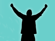 Silhouette graphic of a person raising their arms in triumph.