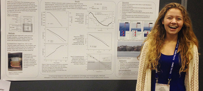 Emily Whitaker '17 presents original research at the fall 2015 AGU.