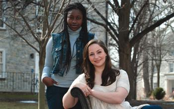 Barbara Crentsil '12 (left) and Daisy Ross '12 settle back into life on Dickinson's campus after a dramatic departure from Egypt.