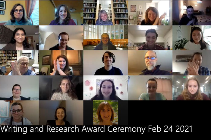 a zoom screen of people at the virtual ceremony