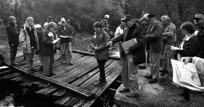 A group of volunteers learn visual assessment in 1996