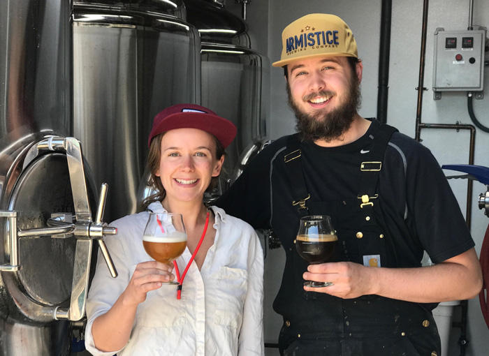 Alex Zobel '08 (left) with brother Gregory Zobel (right) opened Armistice Brewing Company in Richmond, Calif.
